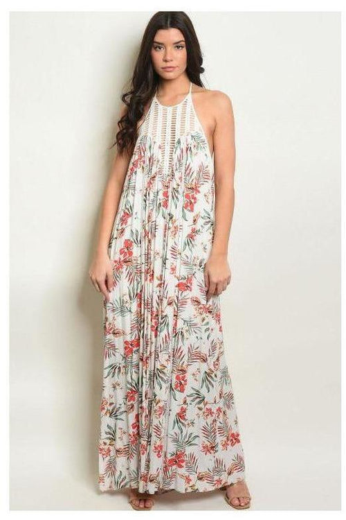 Boho Babe Lace Detail Floral Maxi Dress