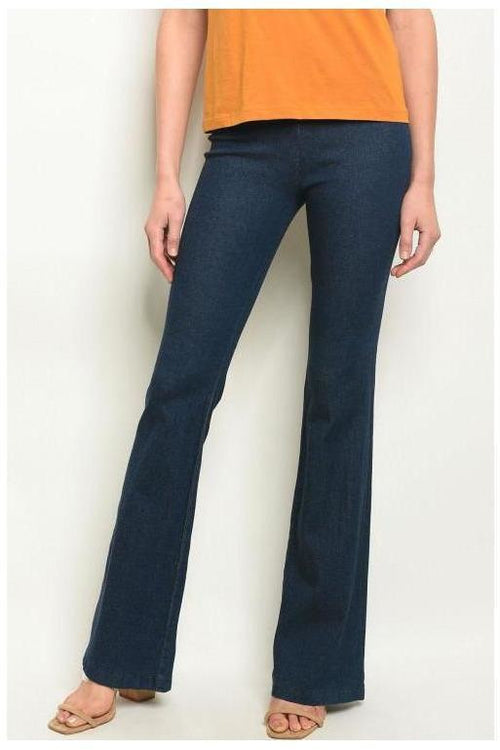 Totally Flared Denim Jeans, Dark Wash