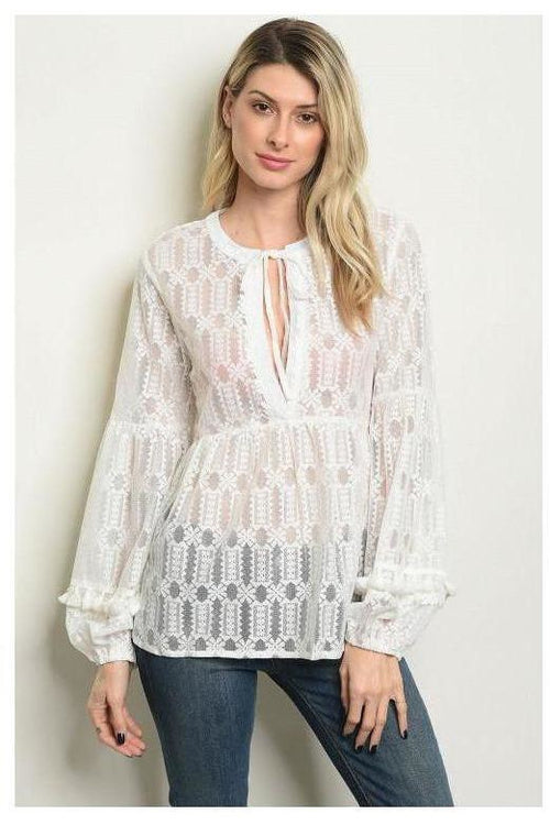 Puff Sleeve Lace Detail Tunic