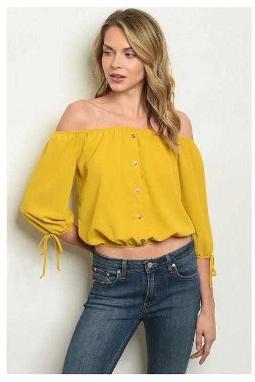 Off Shoulder Button Detail Blouse, Mustard