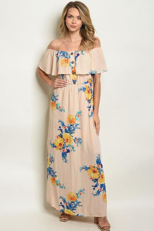 Off Shoulder Floral and Striped Maxi Dress