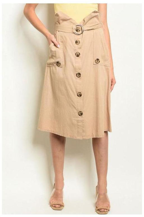 Button Down Beige Pocket Skirt - RMC Boutique