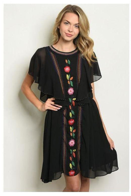 Embroidered Flowers Black Dress