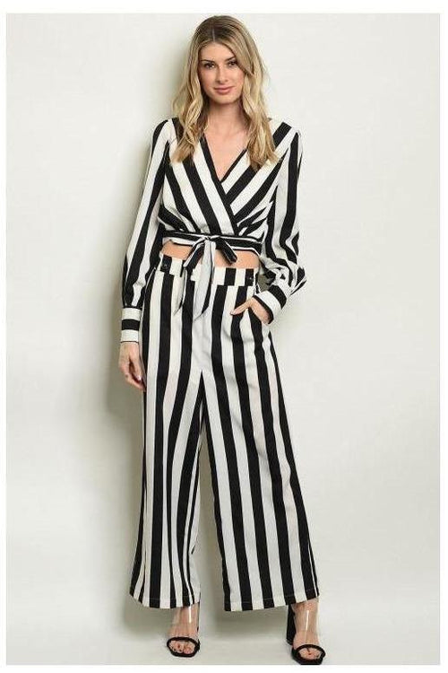 Black and White Striped Pants - RMC Boutique
