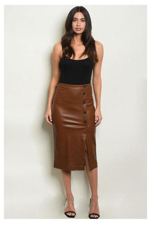 Faux Leather Button Down Pencil Skirt - RMC Boutique