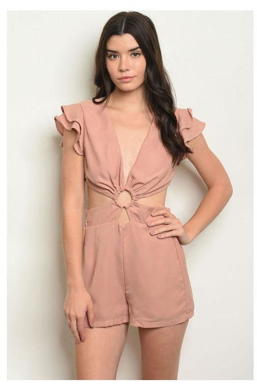 Ruffle Sleeve Criss Cross Romper
