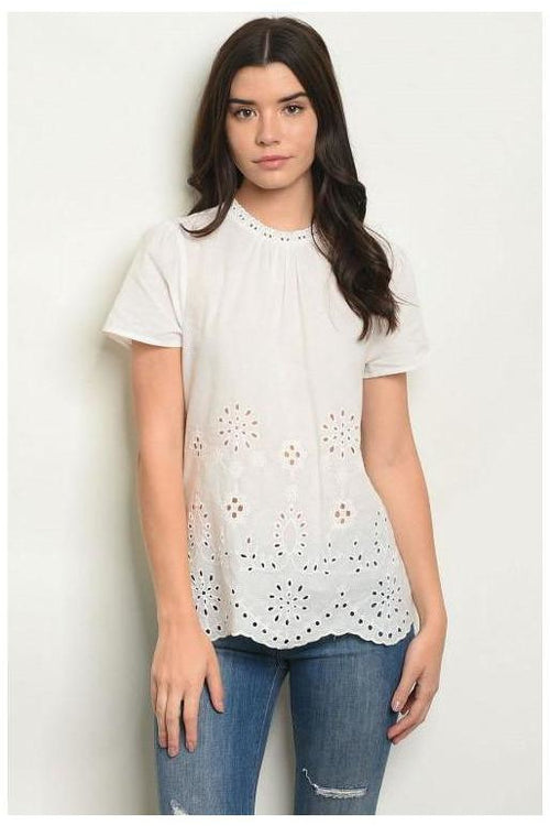 Scallop And Eyelet Detail Linen Top