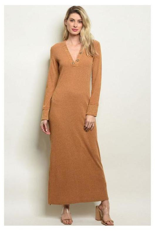 Long Sleeve Ribbon Camel Maxi Dress - RMC Boutique
