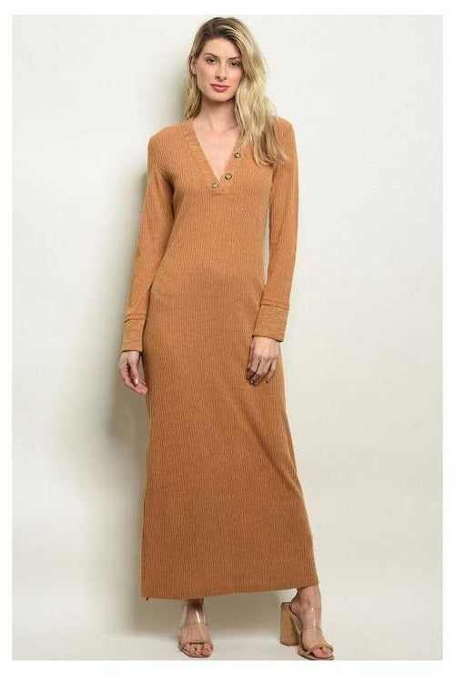Long Sleeve Ribbon Camel Maxi Dress