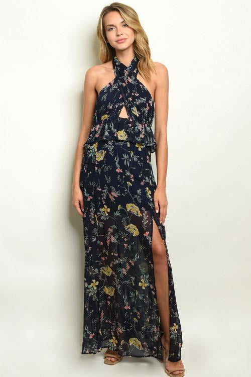 Floral Halter Maxi Dress - RMC Boutique