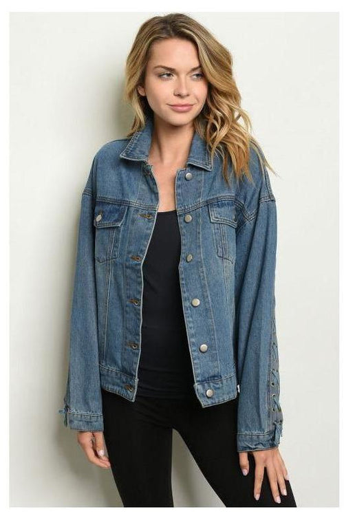 Denim Cross Stitch Detail Jacket