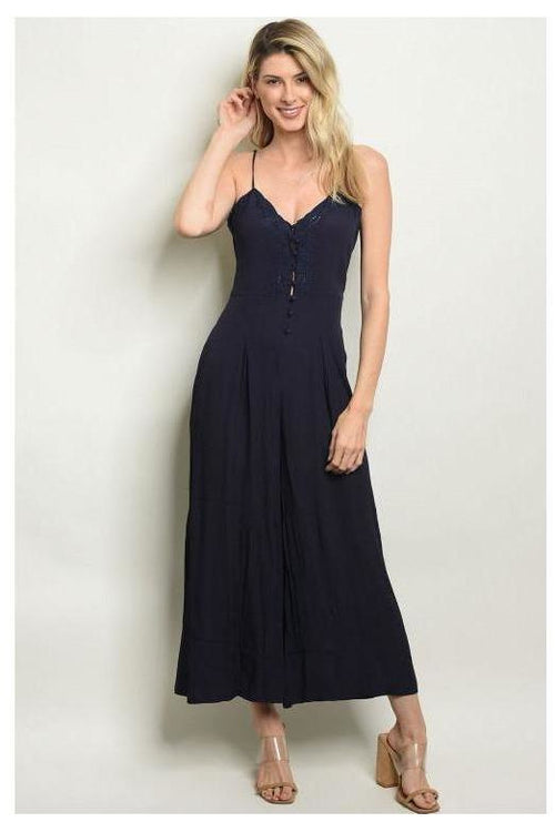 Button Up Thin Strap Jumpsuit