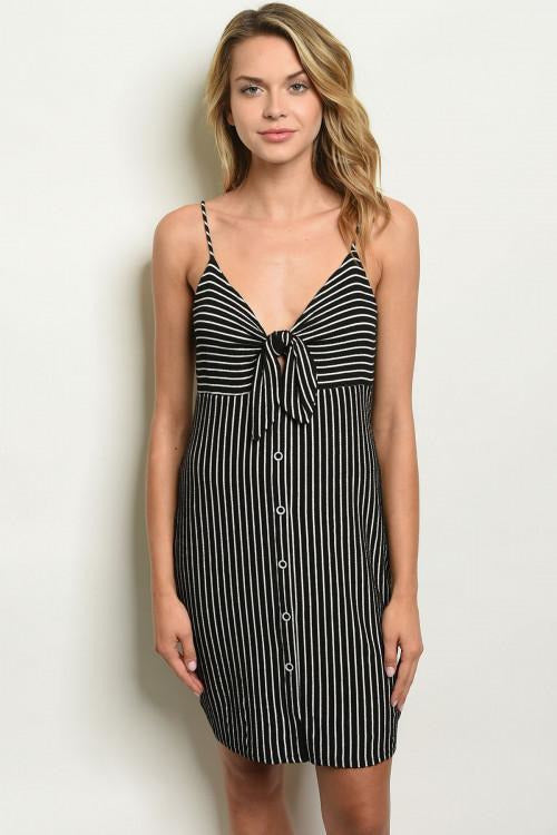Striped Front Tie Button Up Dress