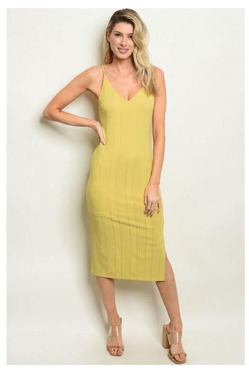 Casual Bodycon Dress, Light Mustard - RMC Boutique
