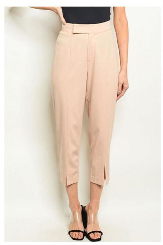 Fitted High Waist Striped Trousers