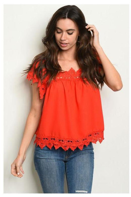 Crochet Trim Blouse, Red