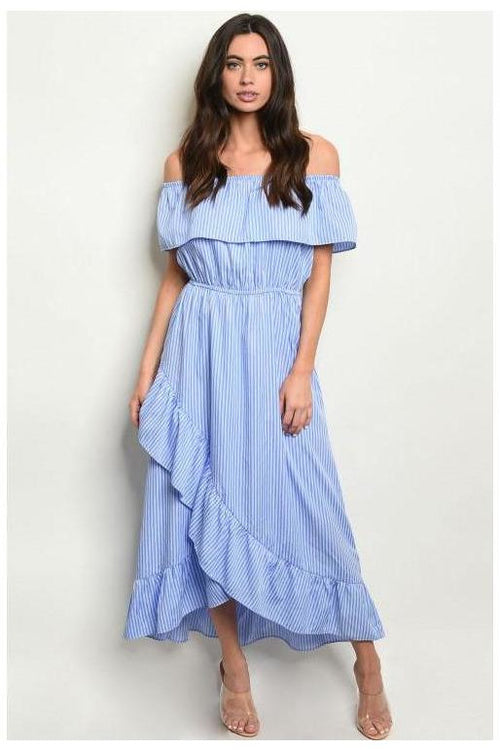 Off Shoulder Ruffle Trim Blue and White Maxi Dress
