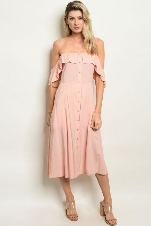Off Shoulder Button Up Dress, Blush - RMC Boutique