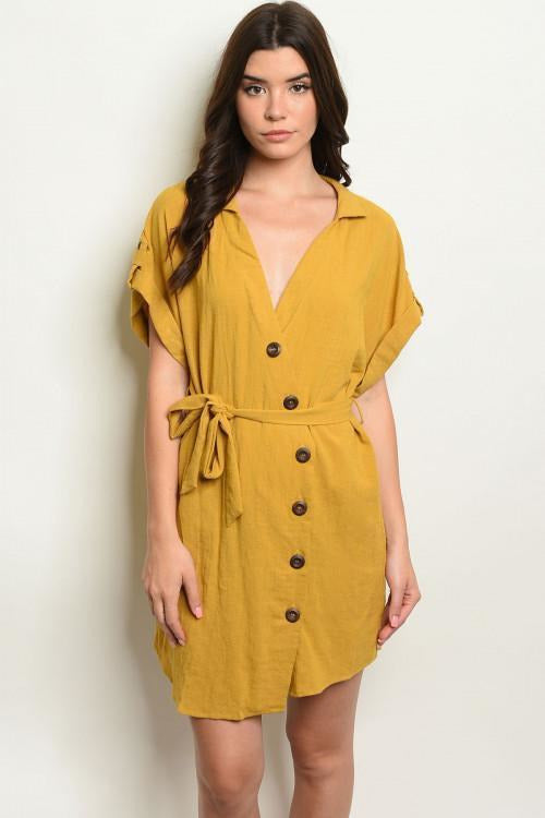 Button Down V Neck Dress, Mustard