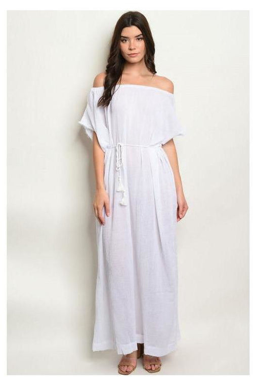 Off Shoulder Casual White Maxi Dress
