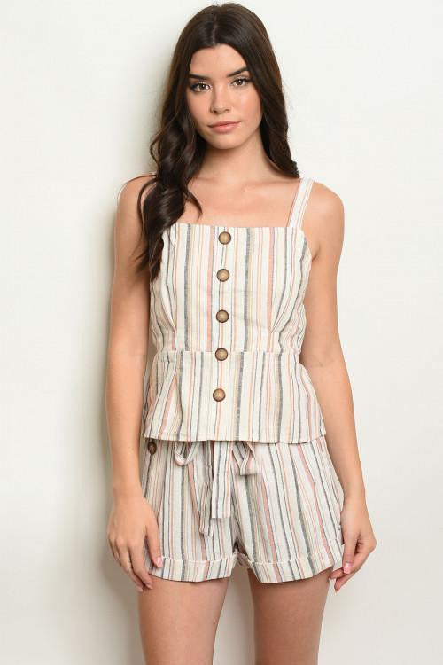 Summer Essential Striped Top And Short