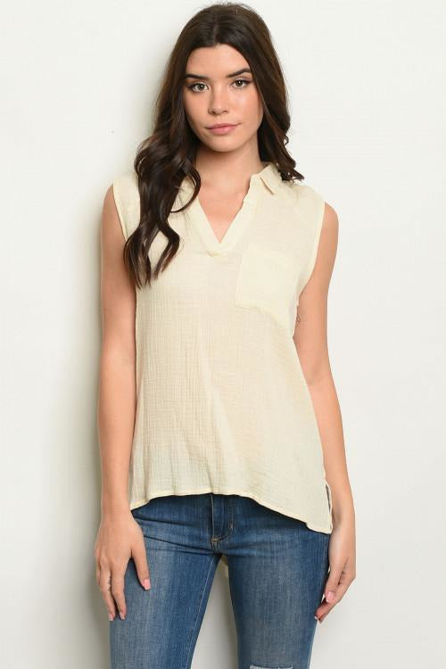 Sleeveless V-neck Tunic Top