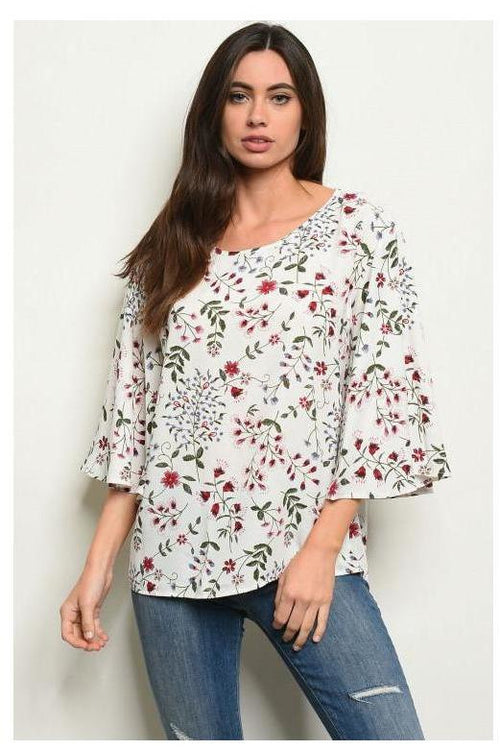 Botanical Print Bell Sleeve Blouse - RMC Boutique