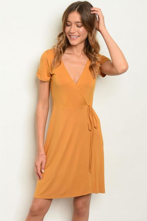 V Neck Crossover Mustard Wrap Dress - RMC Boutique