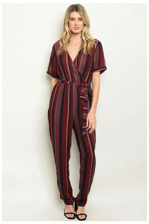 BURGUNDY STRIPES JUMPSUIT - RMC Boutique