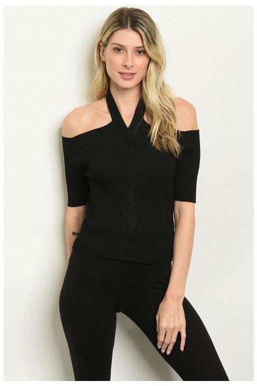 Ribbed Halter Neck Top, Black - RMC Boutique