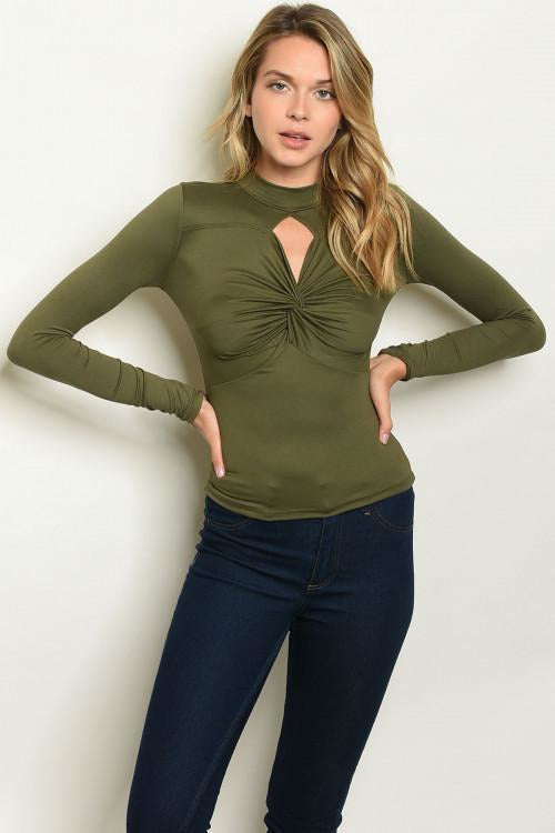 Completely Twisted, Olive Top - RMC Boutique