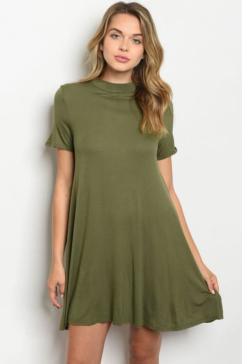 Mock Jersey Tunic Dress, Olive - RMC Boutique
