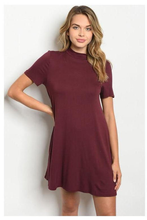 Mock Collar Burgundy Dress