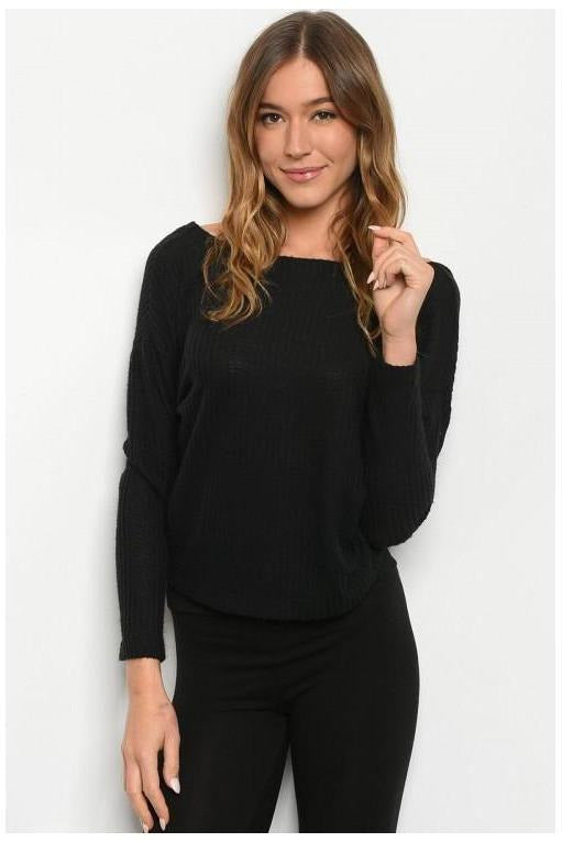 Twist Back Long Sleeve Top, Black - RMC Boutique