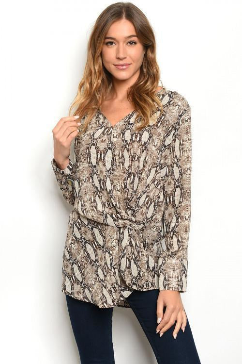 TAUPE SNAKE PRINT TOP - RMC Boutique