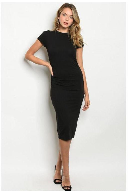 Slim Fitting Casual Black  Dress