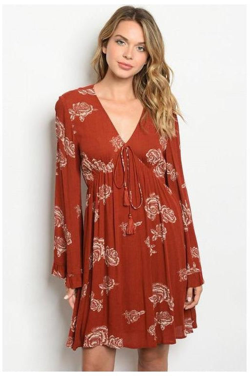 Dessert Rose Print Dress - RMC Boutique