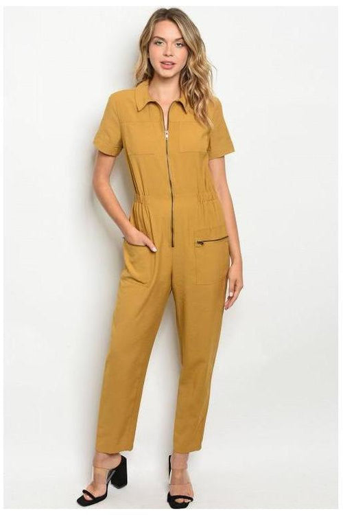 Zip Up Mustard Jumpsuit - RMC Boutique