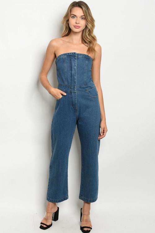 Sleeveless Retro Style Blue Jean Jumpsuit - RMC Boutique