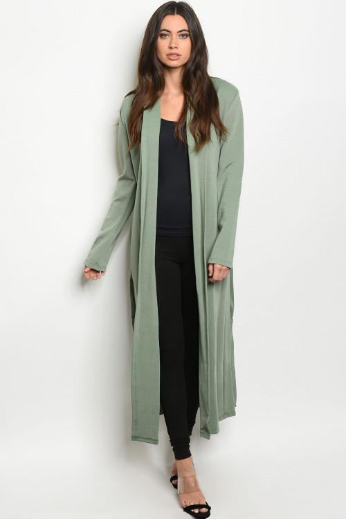 Always On The Go, Sage Open Front Cardigan