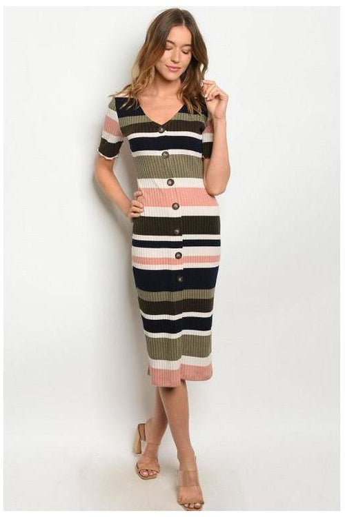 Multi Color Ribbed Button Up Bodycon Dress