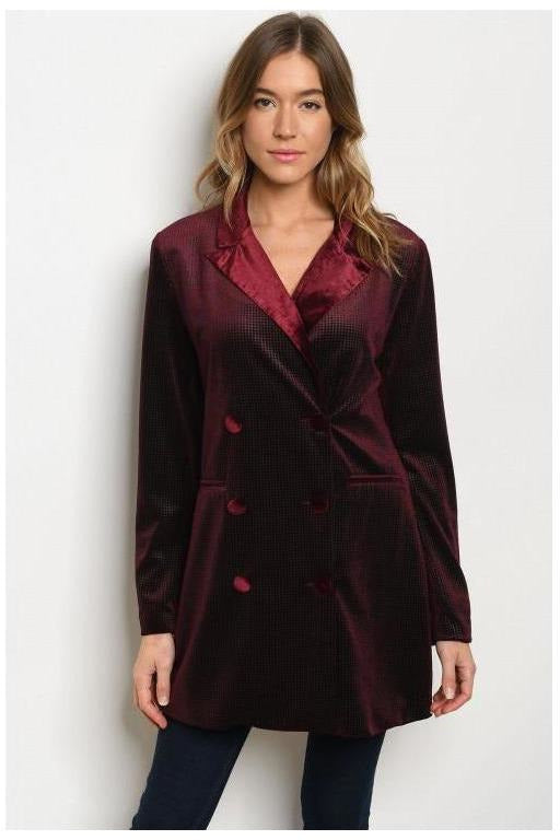 Velvet Crushed Burgundy Blazer Dress