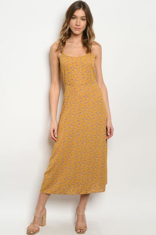 Mustard Floral Midi Dress - RMC Boutique