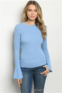 Flared Sleeve Rib Knit Top, Dusty Blue - RMC Boutique