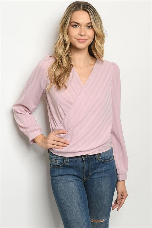 Long Sleeve Wrap Blouse - RMC Boutique