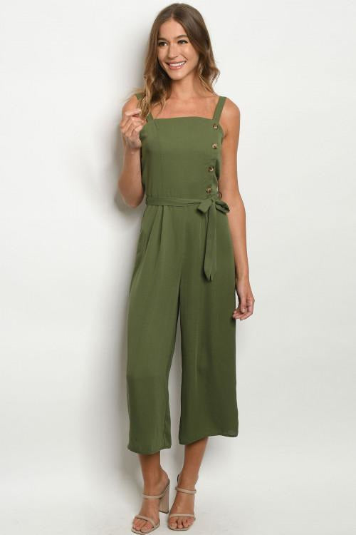 Button Up Olive Jumpsuit - RMC Boutique