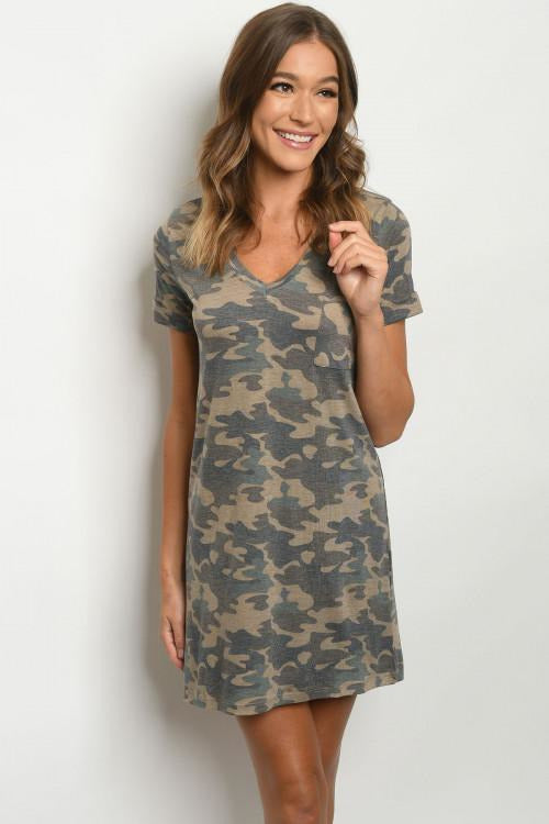 Camouflage Print T Shirt Dress - RMC Boutique