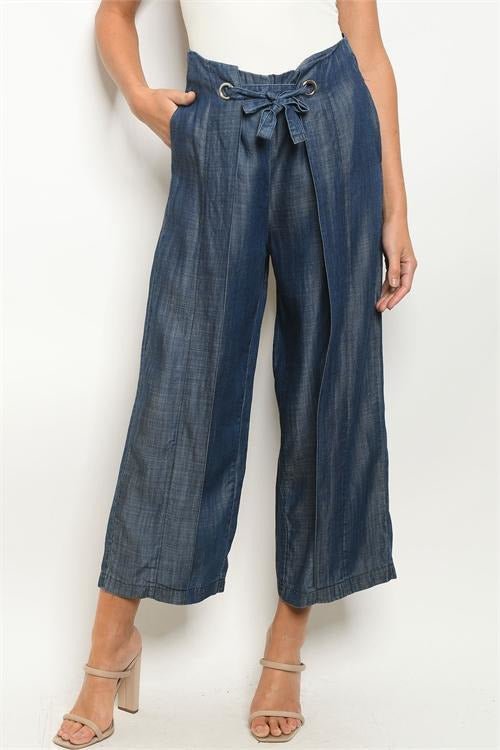 Wide Leg Denim Chambray Midi Pants - RMC Boutique