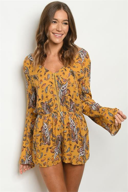 Paisley Print Mustard - RMC Boutique