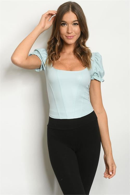 Fairytale Dream Baby Blue Puff Sleeve Fitted Top - RMC Boutique